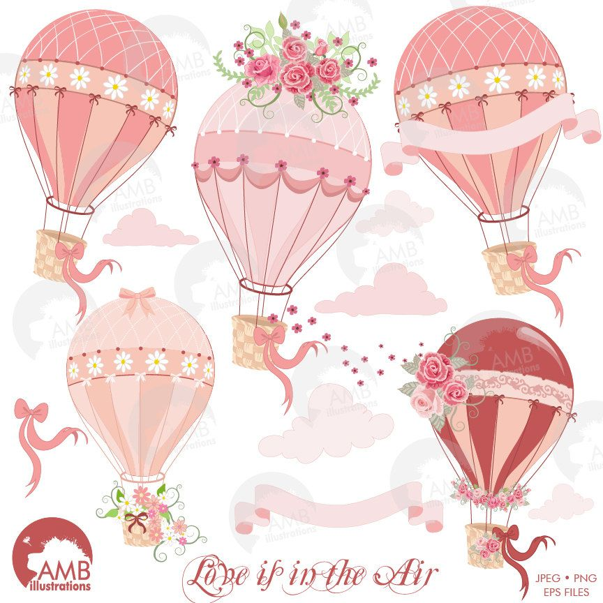 80 OFF Hot Air Balloon Clipart Bridal Shower Wedding Floral Commercial Use