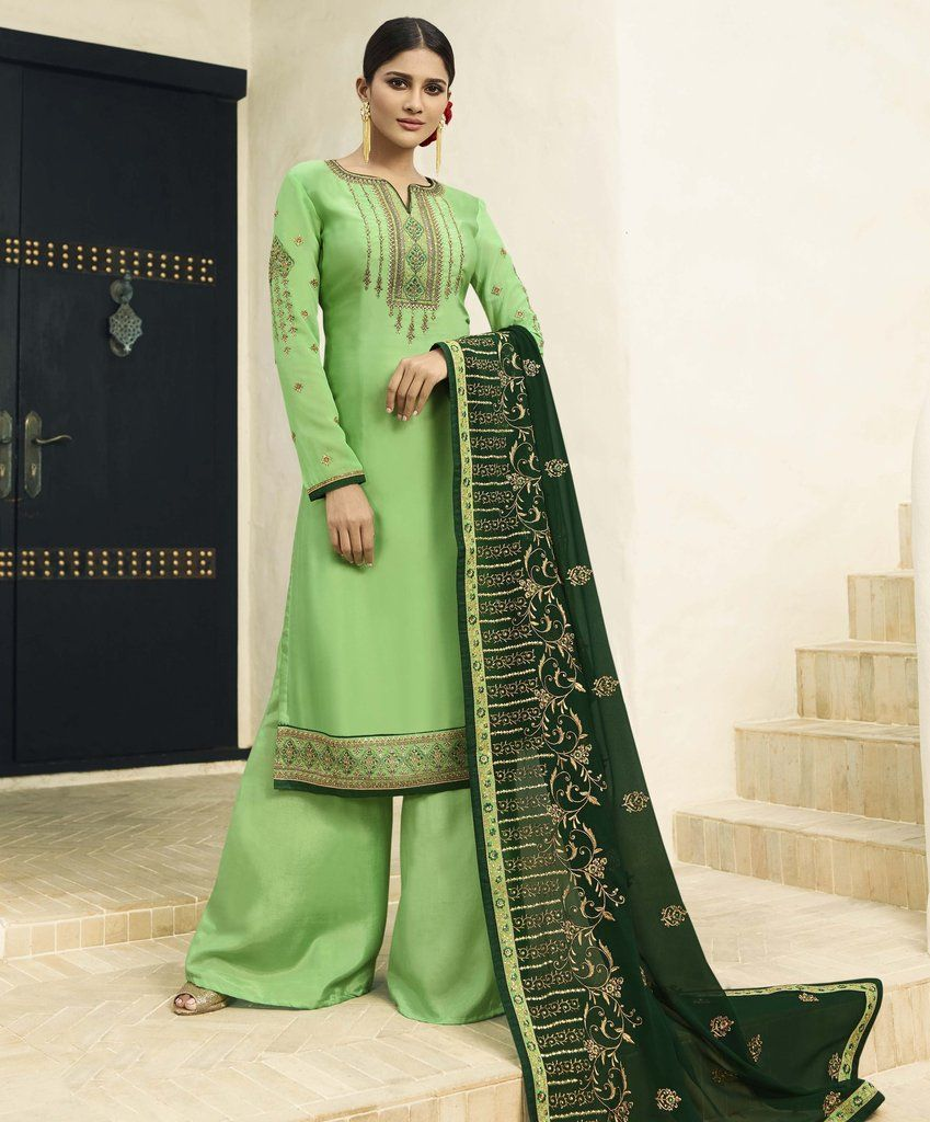07c9eb3d1c ... Traditional Indian Womens Clothing by ISHTIAQ PATHAN. Green Embroidered  Satin Georgette Palazzo Salwar Kameez Suit (Unstitched) #palazzo  #palazzopants #