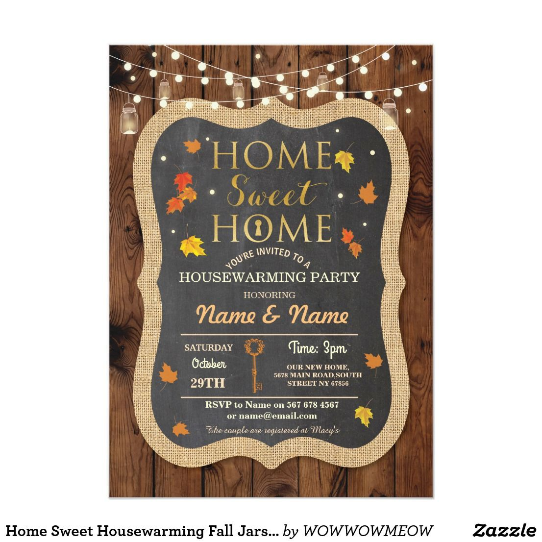 Home Sweet Housewarming Fall Jars Leaves Invite | Zazzle ...