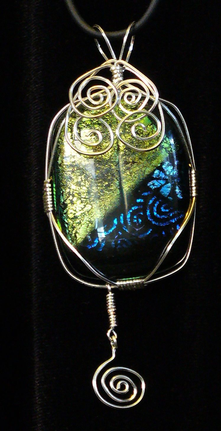 Wire wrapped dichroic pendant. Made in my microwave kiln. :) | My ...