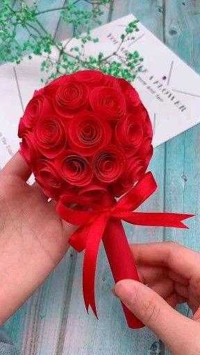 Paper flowers rose diy tutorial easy for children/origami flower folding 3d for kids
