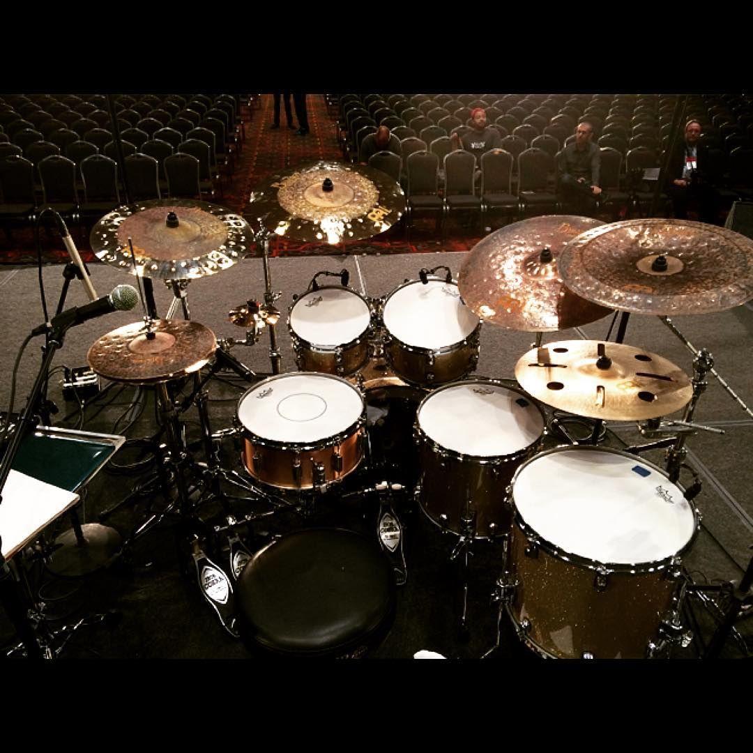 Matt Garstka set up just prior to his #pasic15 performance. #meinlcymbals #meinlfamily #mattgarstka @mattgarstka