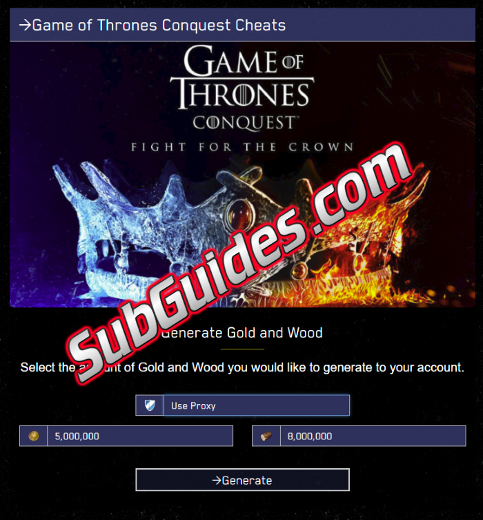 Game of Thrones Conquest Hack Cheats Infinite Gold
