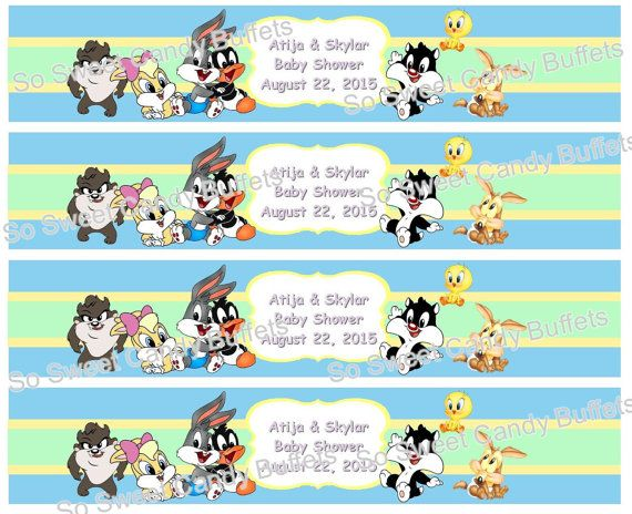 BABY LOONEY TUNES | Personalized Water Bottle Labels | Birthday Or Baby  Shower Favors | Paper