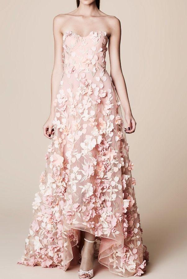 Marchesa Notte Pastel Blush 3D Petal Evening Dress Gown | Poshare ...