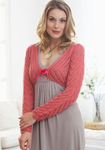 79b8a2339 Lacy pink tie-front long sleeve bolero shrug knitting pattern  sweater   crafts  needlework