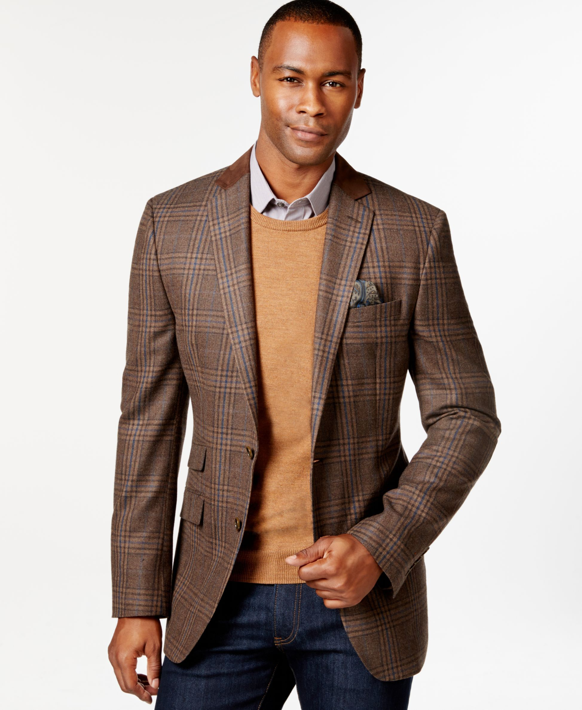 Tallia Big & Tall Vetrino Tartan Brown Sport Coat (With