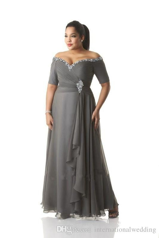 c188074ca5dd9 2016 Custom Made Plus Size Dresses Evening Wear Bead Sequins Off Shoulder  Ruched Gray Chiffon Prom Dress Mother Of The Bride Gowns Ankle Joan Rivers  ...