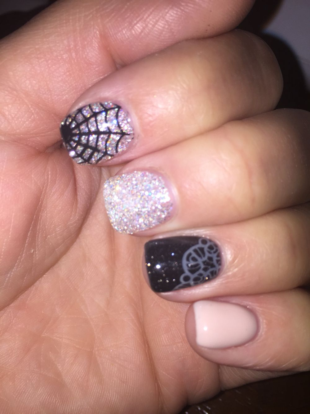 Halloween spider web lace tan black silver glitter gel ...