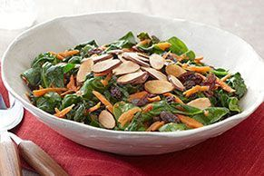 Sauteed Spinach with Carrots, Raisins and Almonds -  Sauteed Spinach with Carrots, Raisins and Almonds -