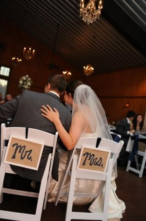 Mr. & Mrs. Framed Burlap Chair Signs | Recycled Bride