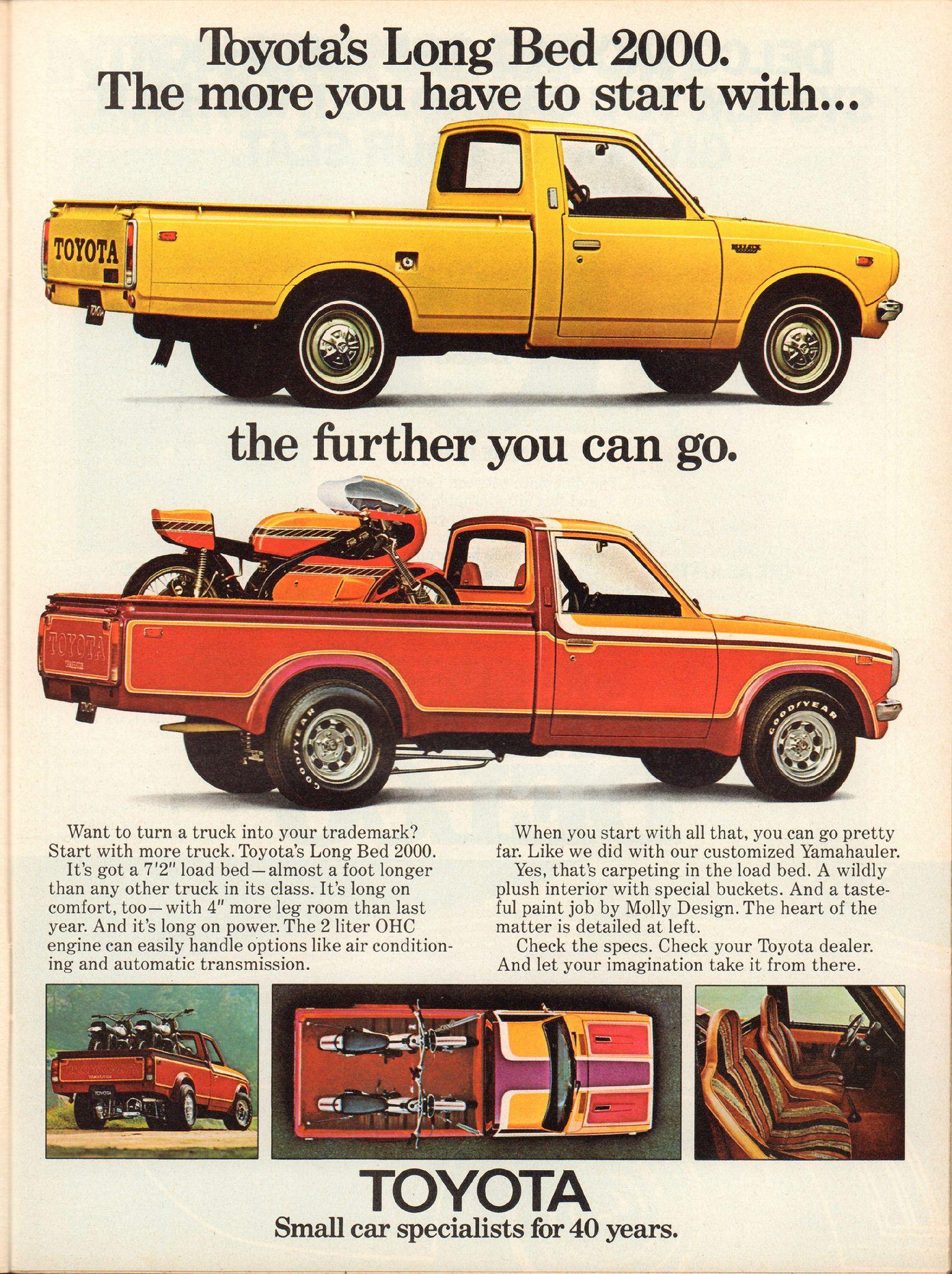 1974 Toyota Long Bed 2000 Pickup Truck Advertisement Motor Trend August 1974 Toyota Trucks Trucks Toyota