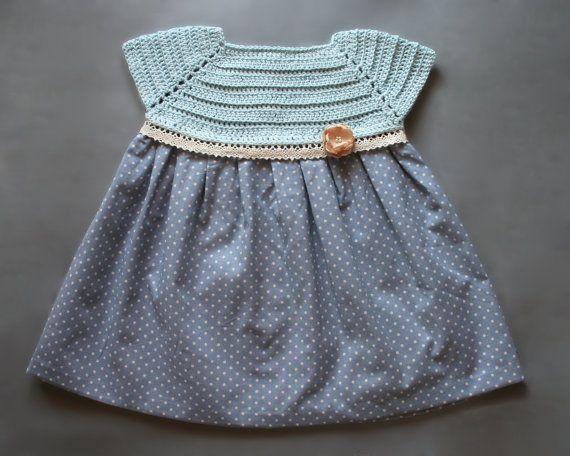 7eb363589 Vestido de estilo vintage para bebe niña en crochet y tela de algodon  estampado, primavera/verano,recien nacido, talla 0-3 meses