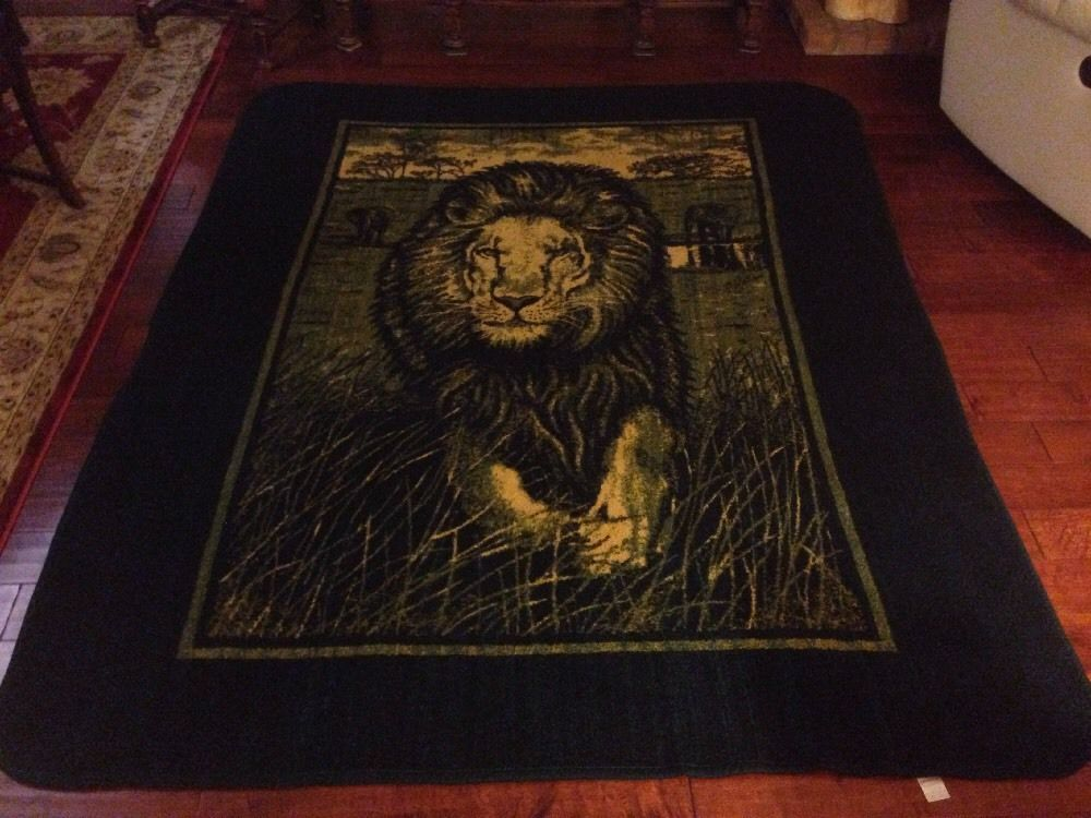 Original San Marcos Lion Safari Blanket Green Yellow with Tag 76