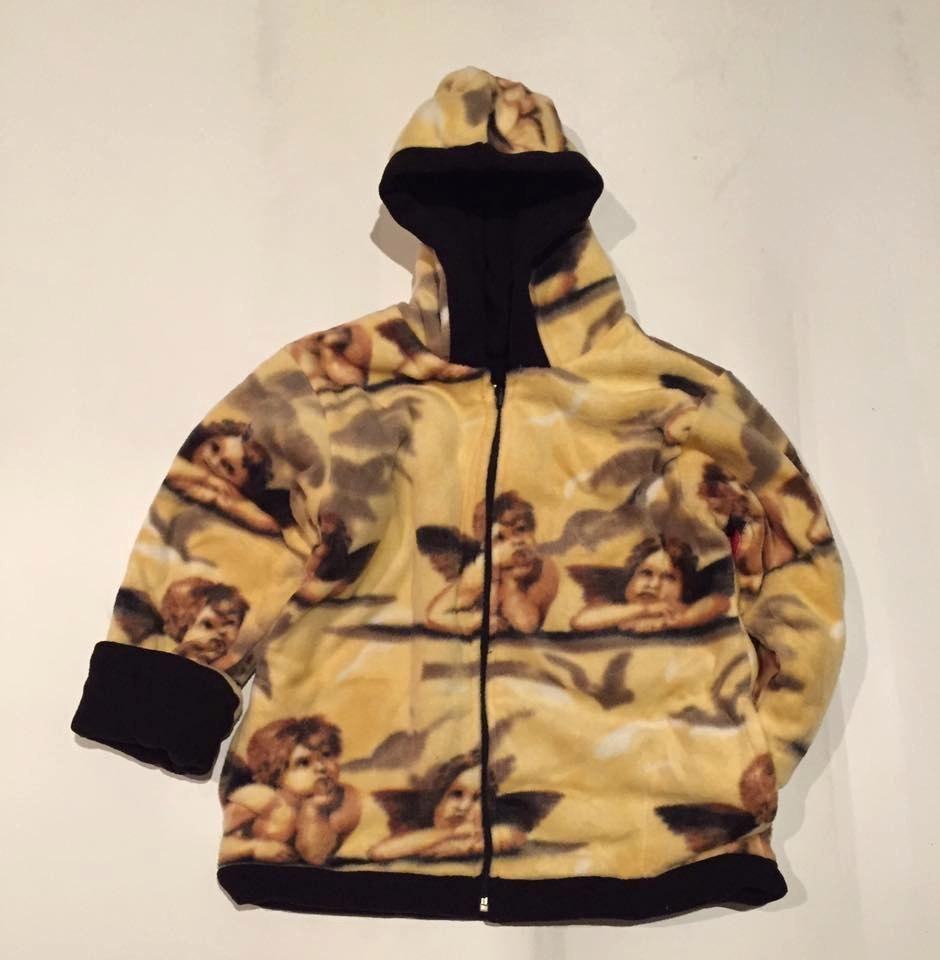 Kids reversible heavyweight hooded golden angels fleece jacket