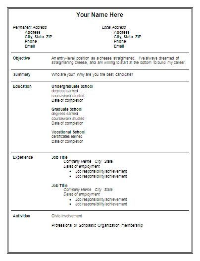 entry level resume sample word free format download