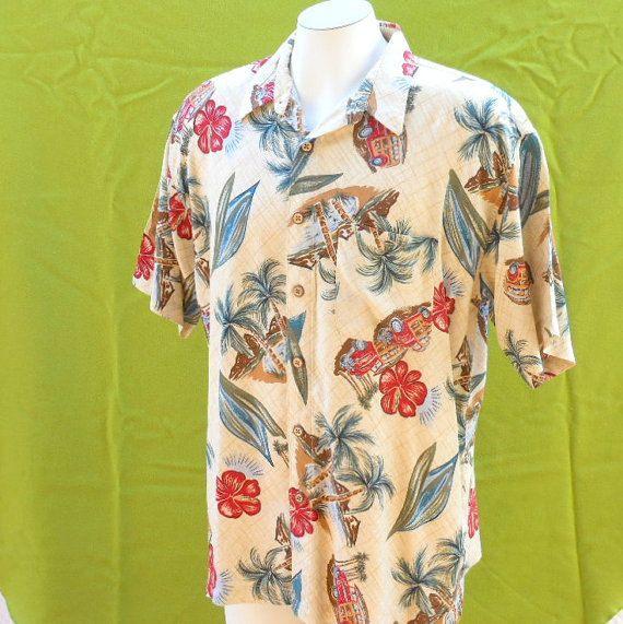 Mens Hawaiian shirt floral vintage 6070s 50s by BornToShopVintage, $29.99