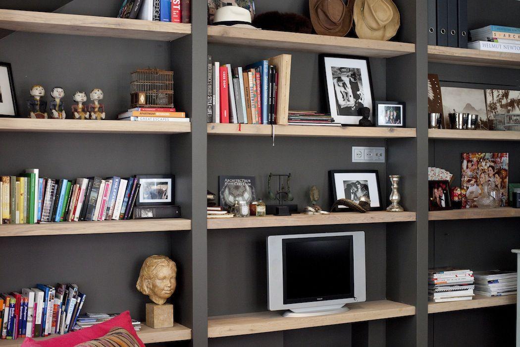 boekenkast met dikke houten planken - Google zoeken | Huis ...