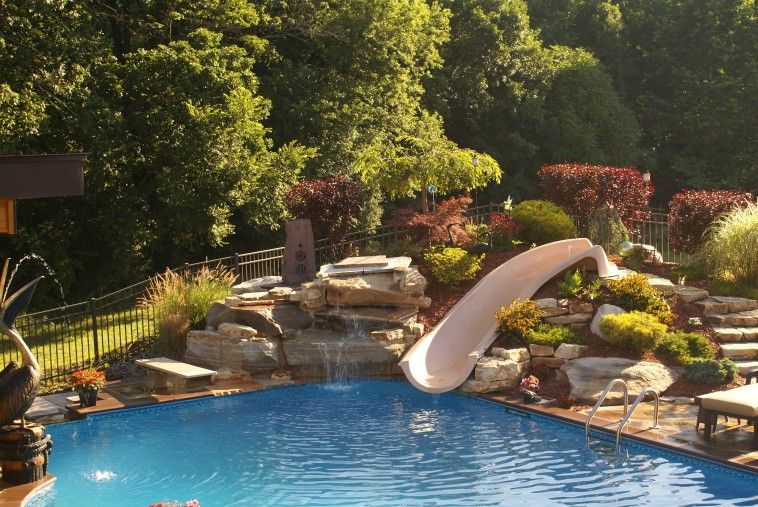 Inground Pool With Water Slide And Rock Waterfall Built In As Well