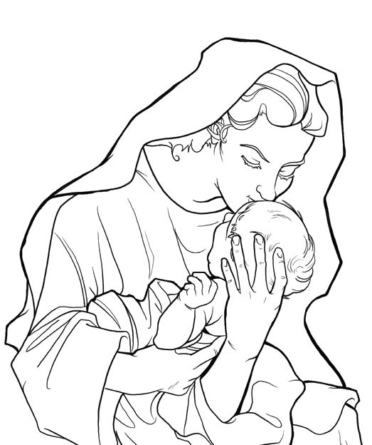 pictures mary kissing baby jesus coloring pages