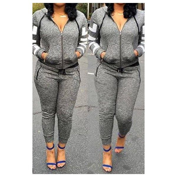 921ee57f Rotita Grey Tracksuit Jogging Suit Sweatsuit Zip Up Hoodie And Joggers...  ($19) ❤ liked on Polyvore featuring activewear, grey, track suits, grey  sweatsuit ...