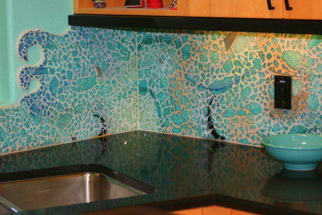 Beach Glass Back Splash Glass Tiles Kitchen Sea Glass Tile Creative Kitchen Backsplash