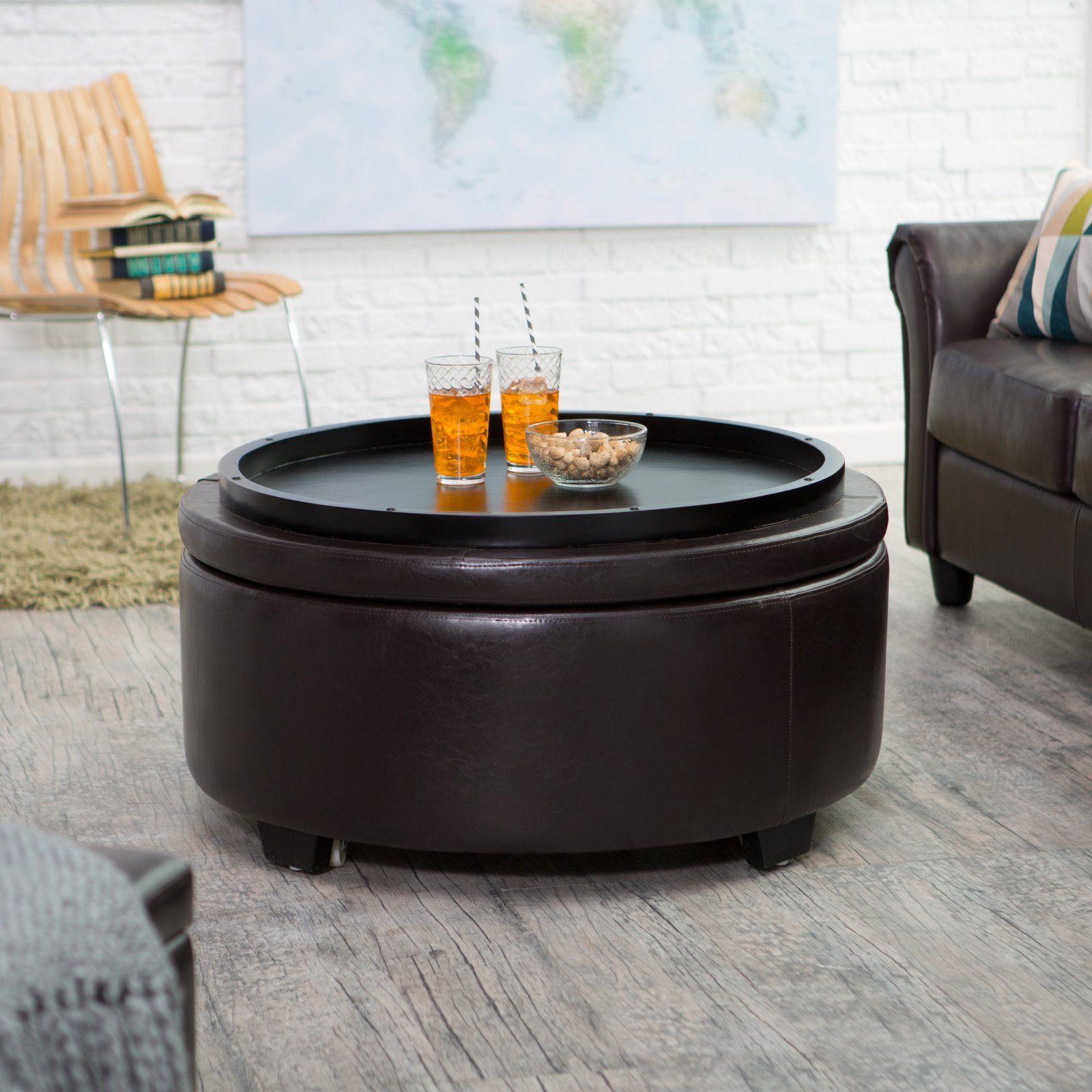Amazon.com - Belham Living Corbett Round Coffee Table Storage Ottoman -