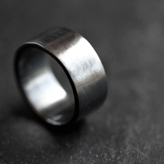 Mens Silver Wedding Band 10mm Wide Simple Flat Band Recycled Etsy Silver Wedding Bands Mens Silver Wedding Bands Rings For Men
