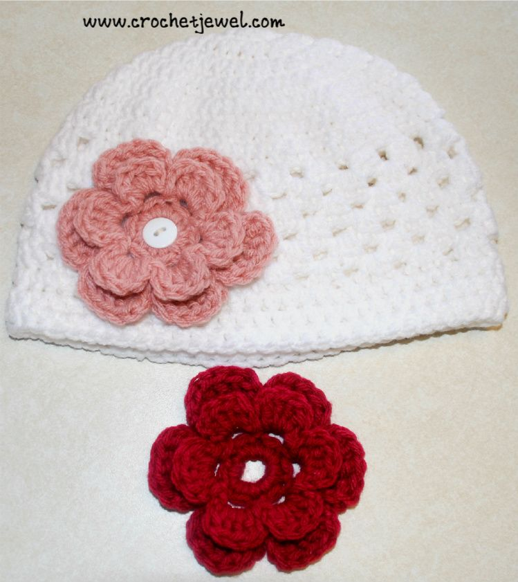5c8b4bb7d3c Crochet Interchangeable Flower Hat (All Sizes) I made this hat for my  toddler. The 6 petal layered flowers can be fastened o.