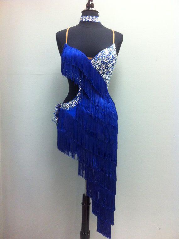 Blue Latin Dress with fringe on Sale for by DesignByNatasha