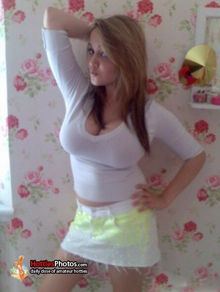 Busty Babysitter Cleavage In Tight White Top And Yellow Skirt