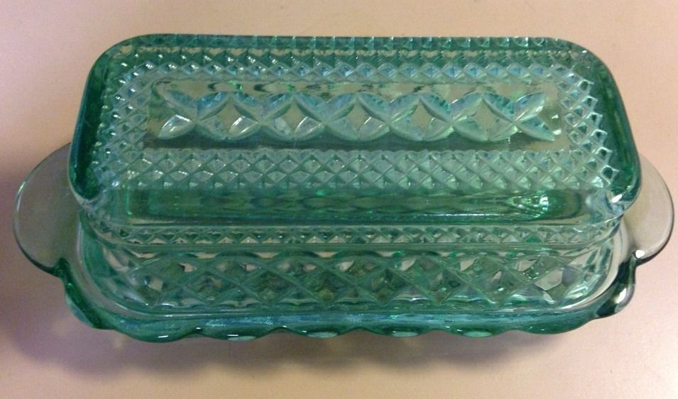 Vintage Anchor Hocking Wexford Butter Dish Lid Green Glass Vintage Glassware Wexford Green Glass