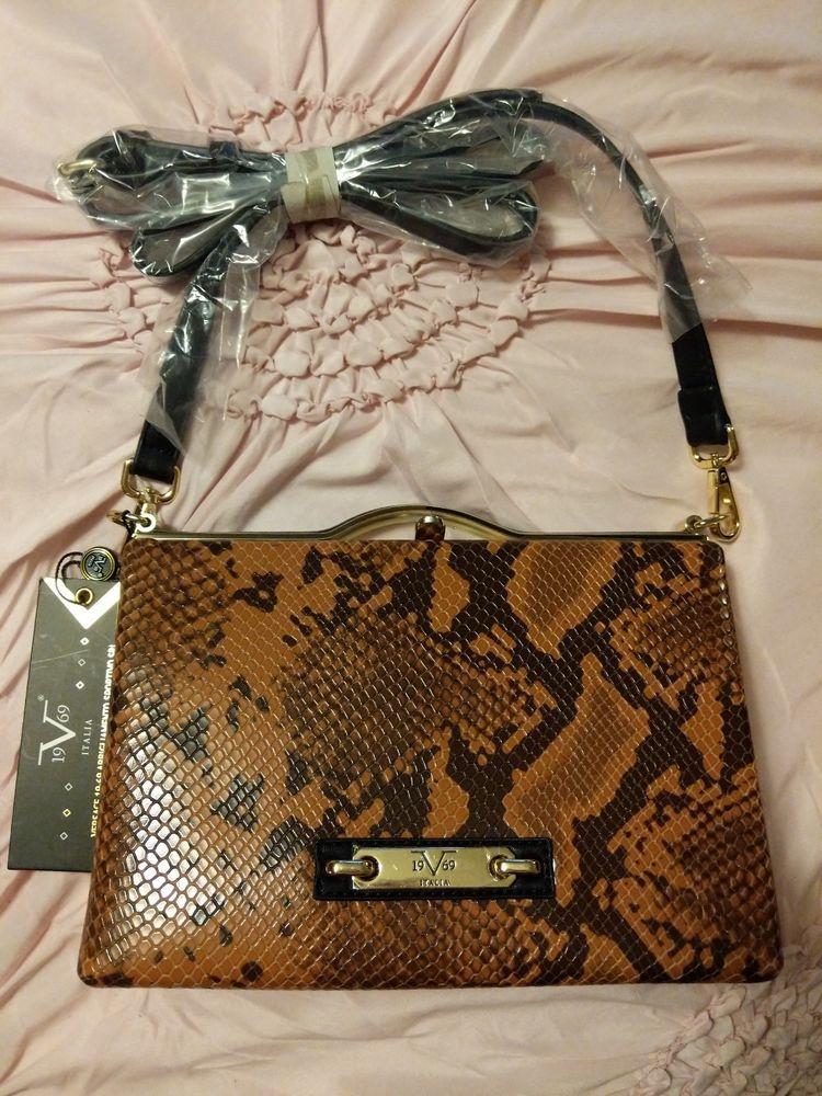 New NWT Versace 1969 19-69 handbag purse crossbody brown black snakeskin 8ac6ff9d1d9aa