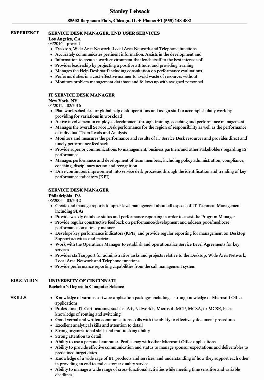 Help Desk Support Resume Inspirational Service Desk