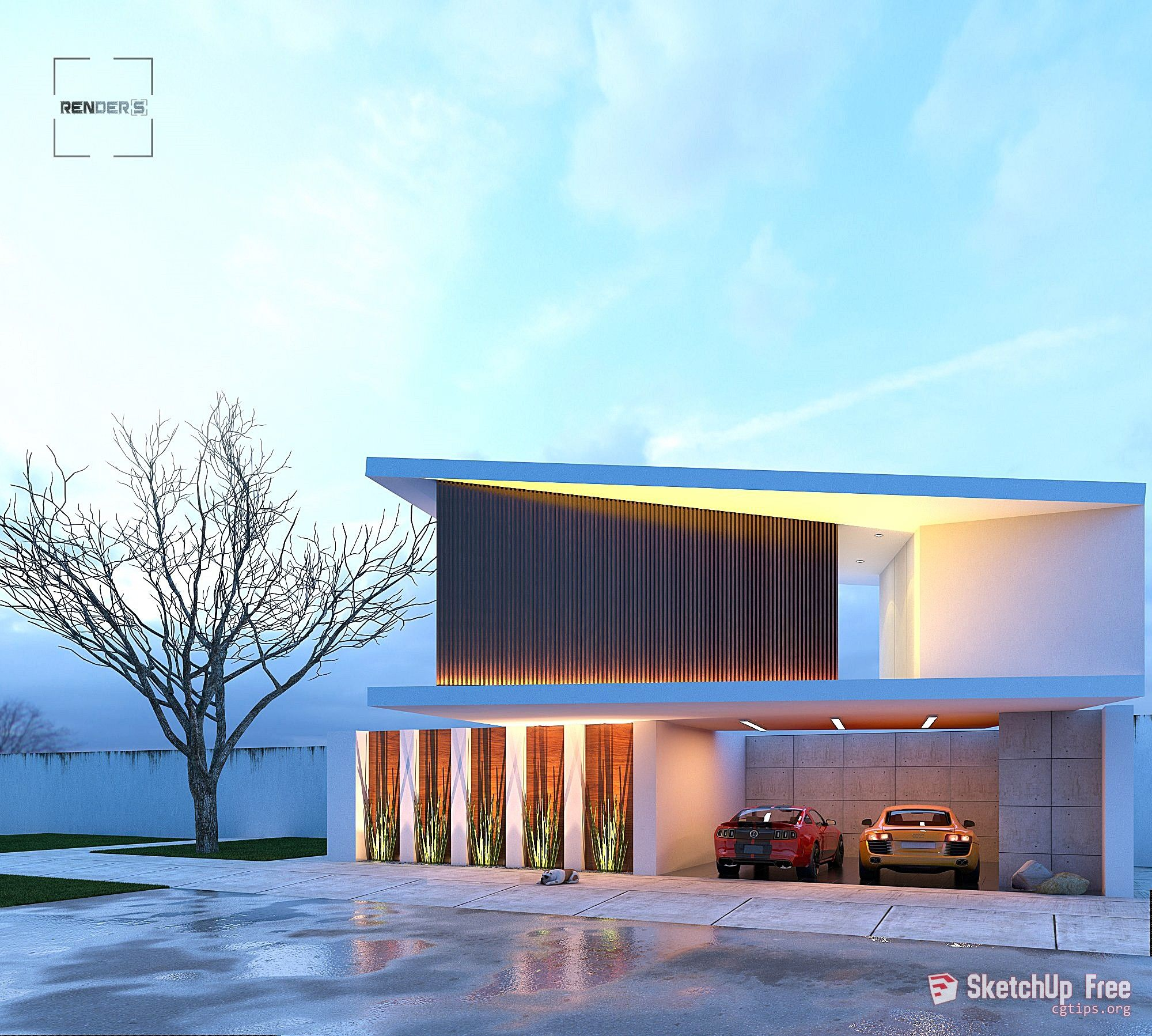 2037 Exterior Scene Sketchup Model Free Download | Sketchup