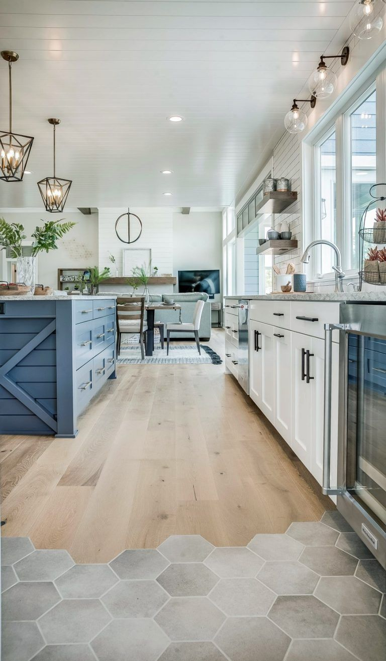 Modern Farmhouse Kitchen With Blue Kitchen Island And Hexagon Tiles And Timber Floors Interior Design Kitchen Modern Farmhouse Kitchens Eclectic Farmhouse