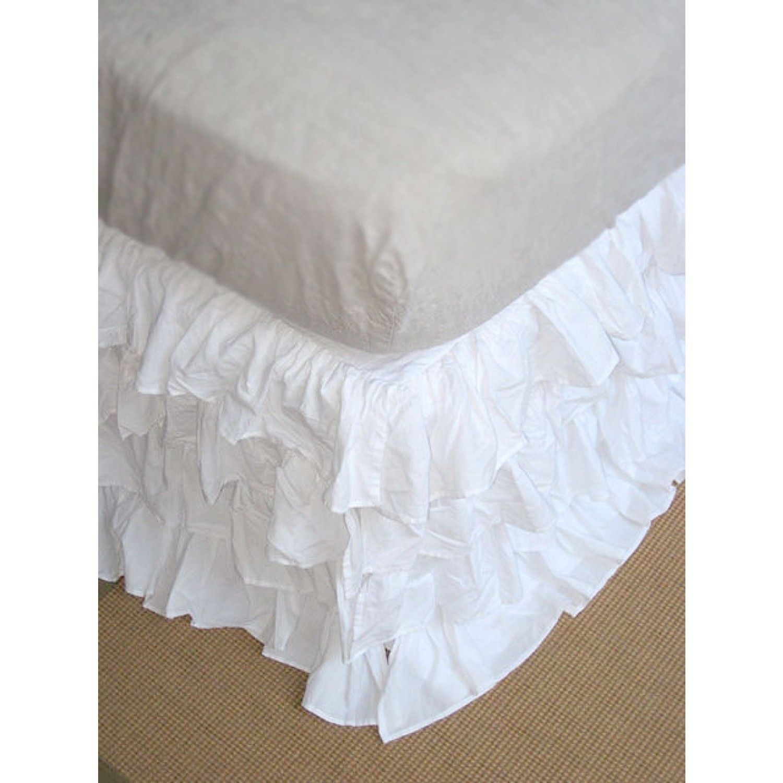 White Ruffle Bed Skirt Bedskirt, White ruffle bedding