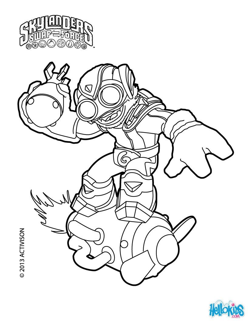 Boom Jet coloring page from Skylanders Swap Force coloring pages More Video Games coloring sheets