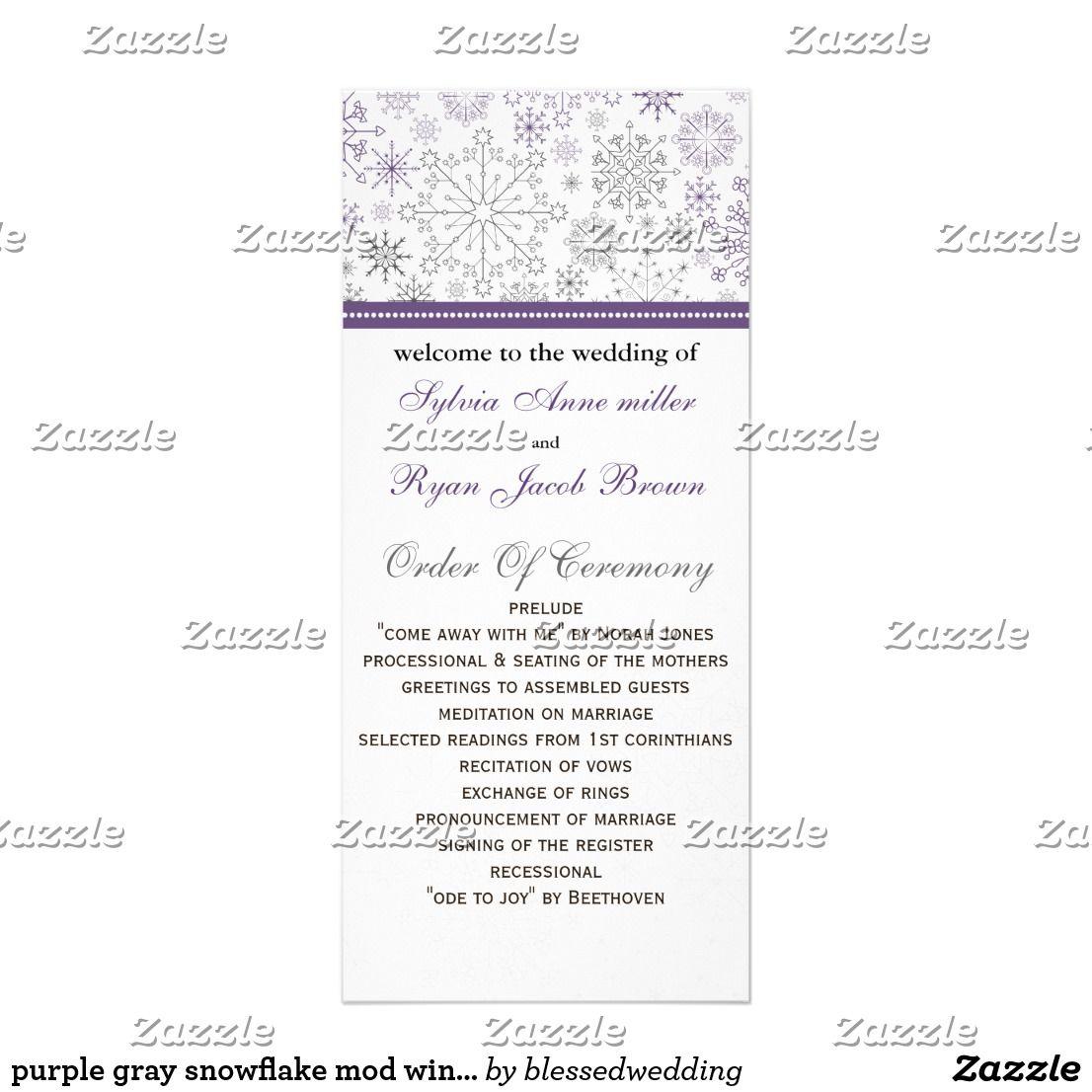 purple gray snowflake mod winter wedding program winter wedding