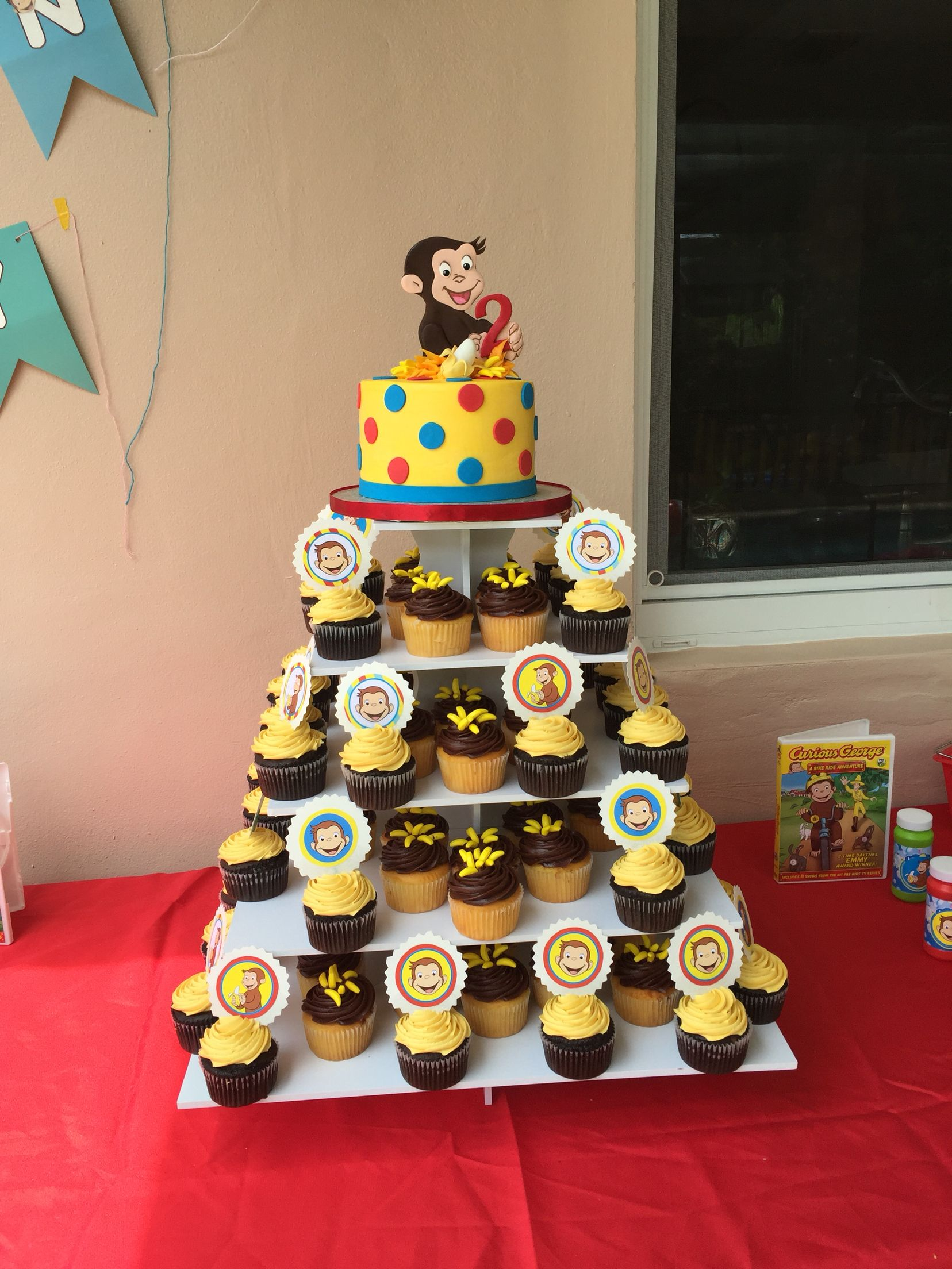 Curious George Cake And Cupcakes With Toppers With Images