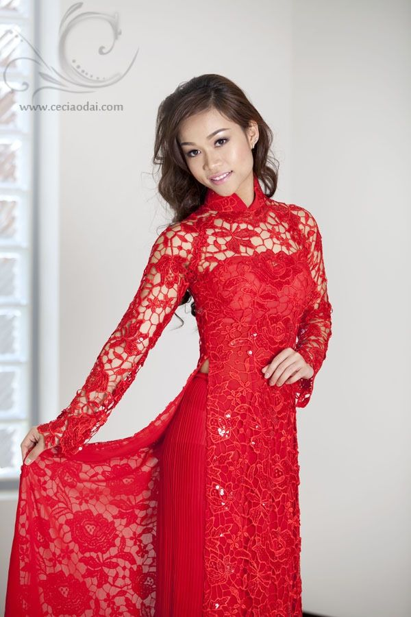 Vietnamese Traditional Red Lace Wedding Dress By Ceci Bich Huyen Wwwceciaodai Model