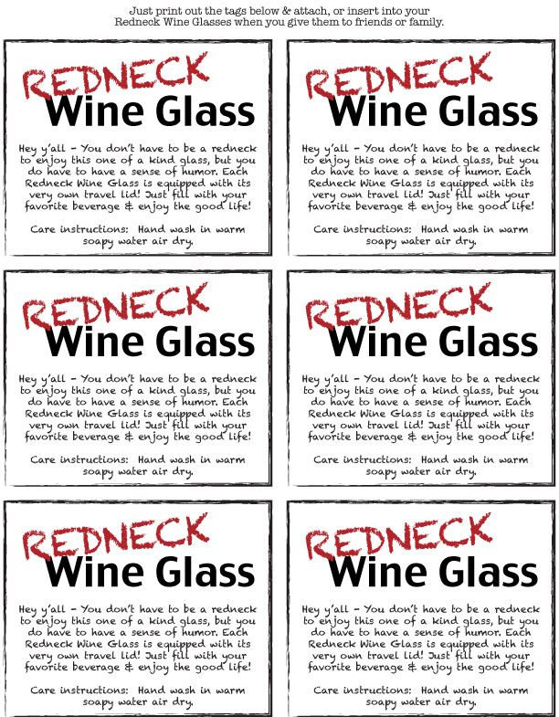 redneck wine glass tags to print | My Country Chic Wedding ...