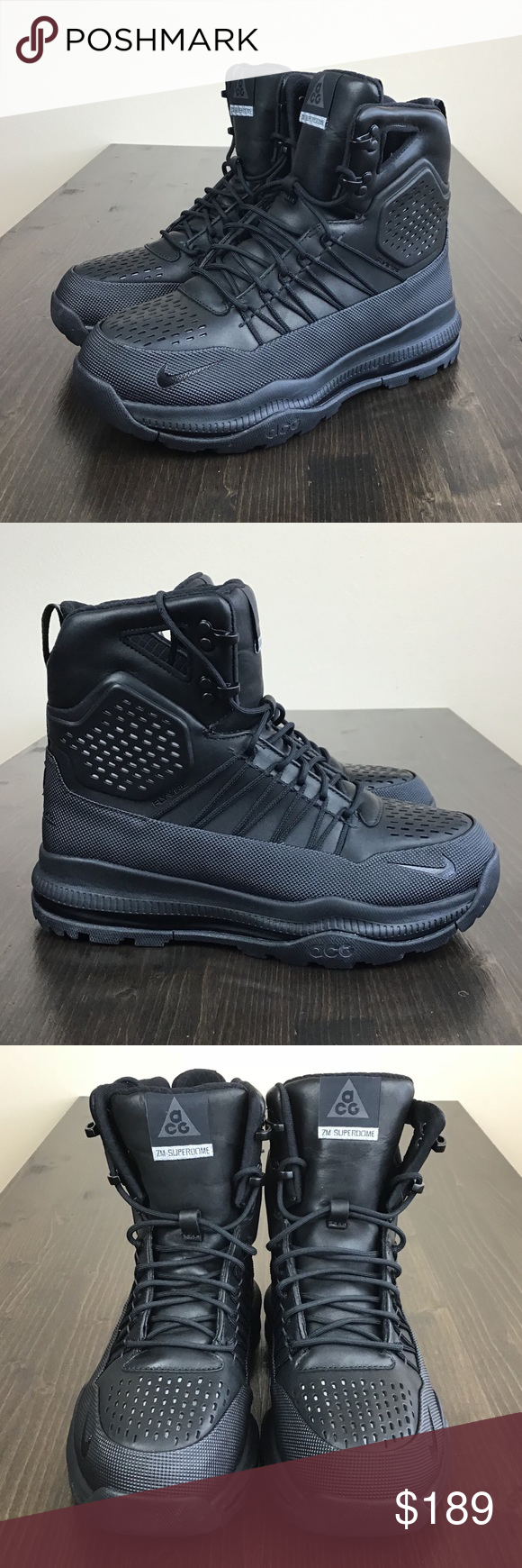 23e557f425a Nike Zoom Superdome ACG Boots Triple Black Brand New without Box ...