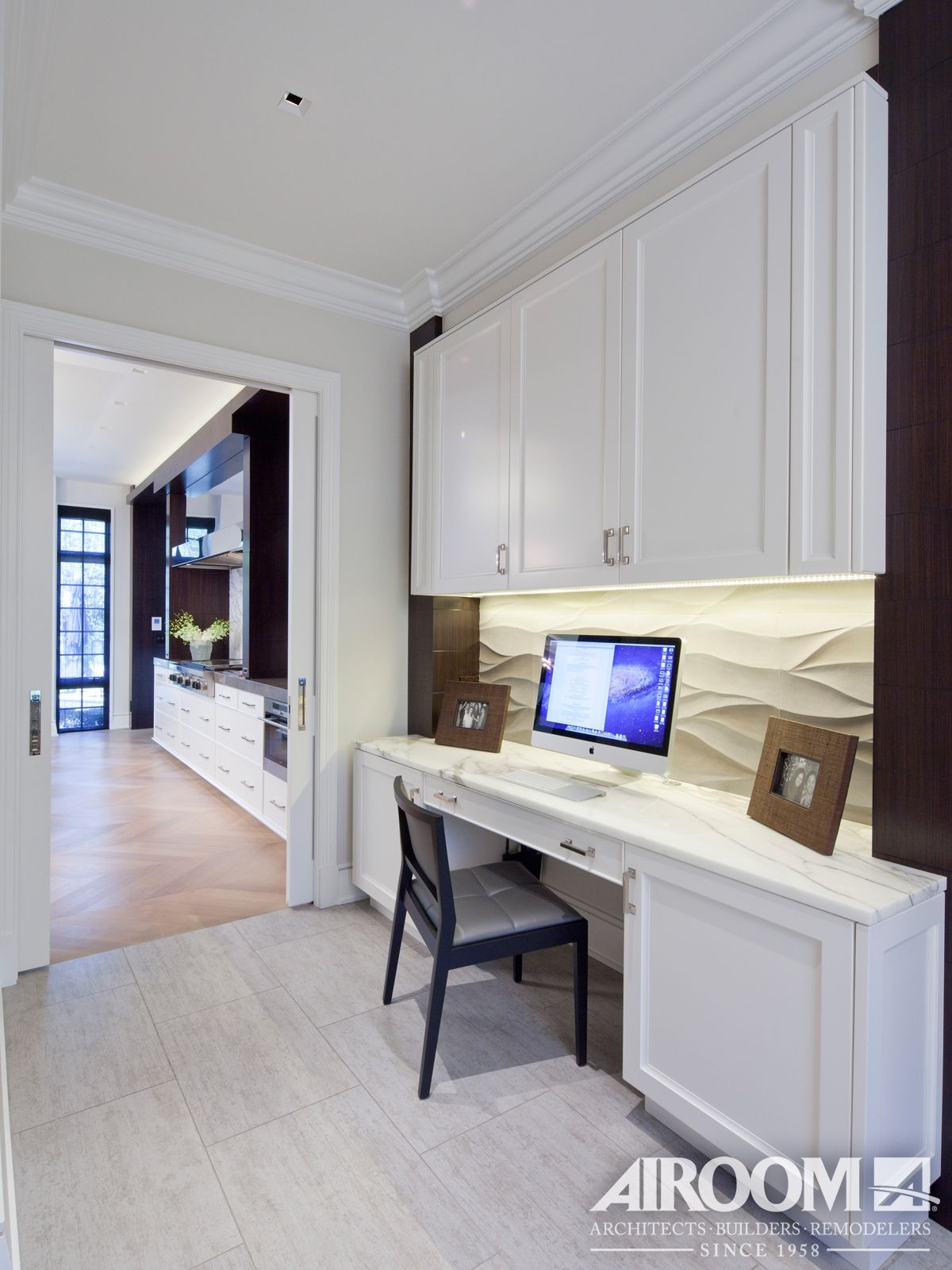 A Clean Modern Built In Desk Offers A Functional
