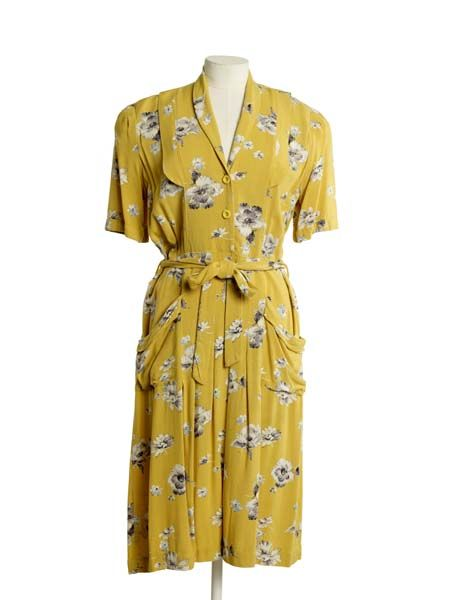 Five 40s Dresses That Capture The Era: Utility Dress, 1941-52, Museum Of London Yellow Novelty