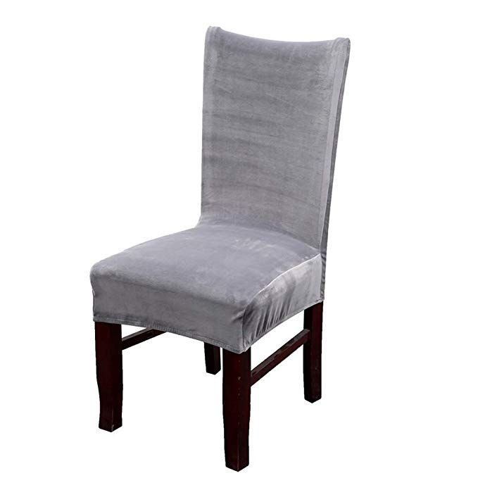 dining chair covers velvet sing electric dinning room stretch high back decor seat slipcovers protectors armless gray set of 2 review