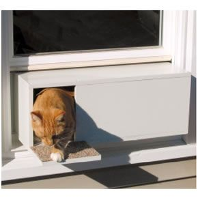 Cat & Window Pet Doors for Cats | The Let Meowt Window Mounted Cat Door ... Pezcame.Com