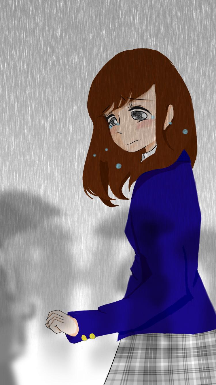 雨の中遠ざかる人たち 人混みに好きな人とその彼女がいるのを偶然みて