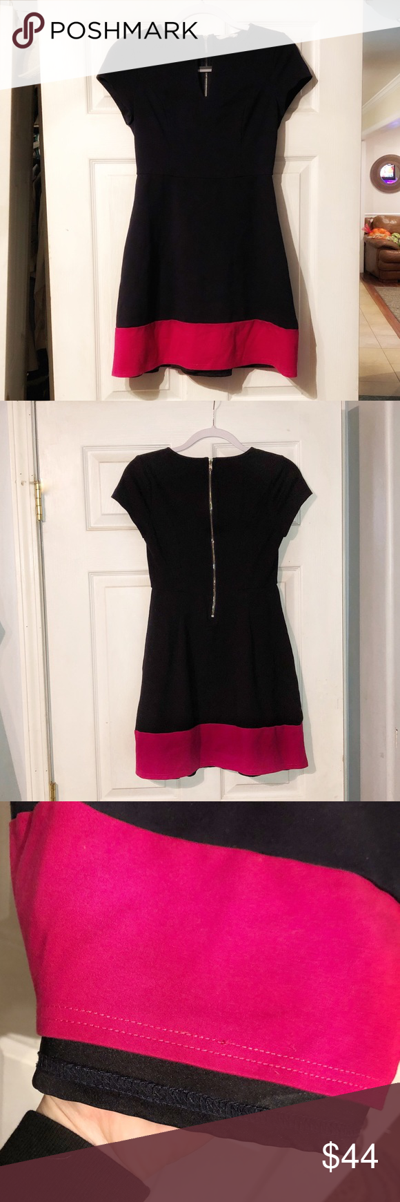 41 Hawthorn size small navy blue & hot pink dress 41 Hawthorn short sleeved size small navy blue & hot pink dress.  Dress is very cut.  Top portion has a slim fit and the bottom portion has some flare to it.  Preowned but good condition with only minor wear. 41 Hawthorn Dresses Midi #navyblueshortdress