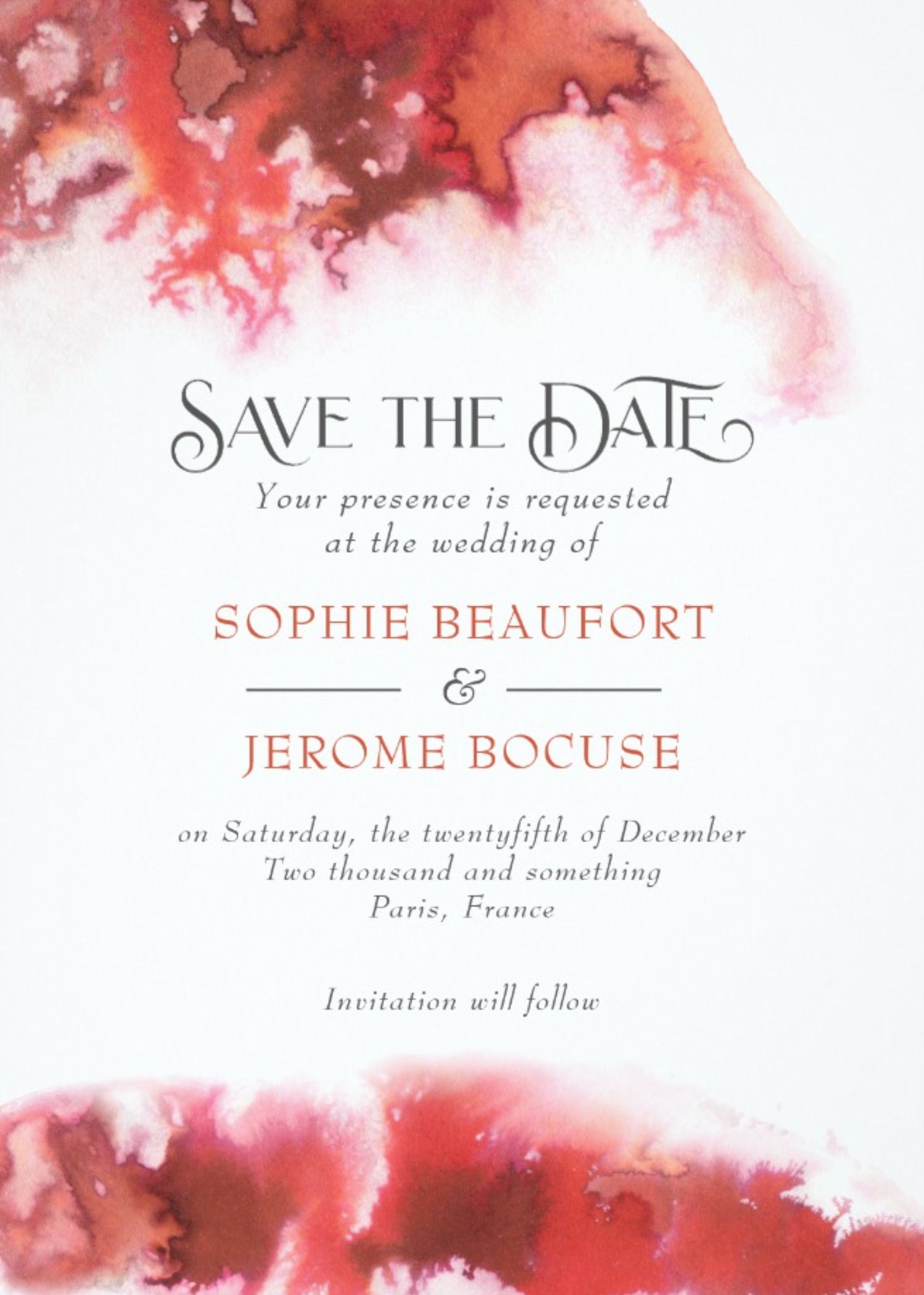 Save the Date Red Watercolor Passion Wedding | Modern wedding theme ...